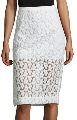 MILLY Floral Embroidered Midi Skirt $325 thestylecure.com