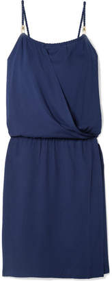 Heidi Klein Ibiza Wrap-effect Voile Mini Dress - Navy