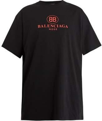Balenciaga Bb Print Cotton T Shirt - Mens - Black