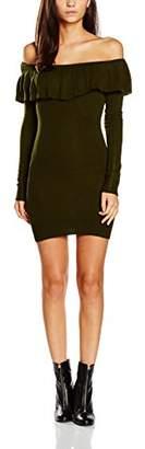 boohoo Women's Bardot Frill Longsleeve Jumper Dress,(Size:S)