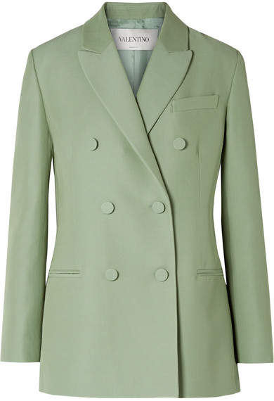 Double-breasted Silk And Wool-blend Blazer - Mint