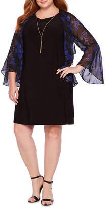 Tiana B BLU SAGE 3/4 Sleeve Kimono Jacket Dress with Necklace - Plus