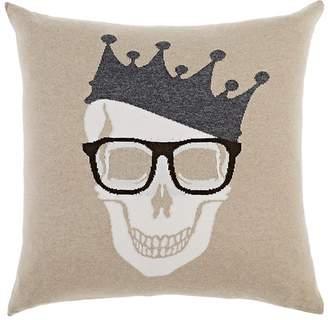 Arabella Rani Crowned-Skull Cashmere-Blend Pillow