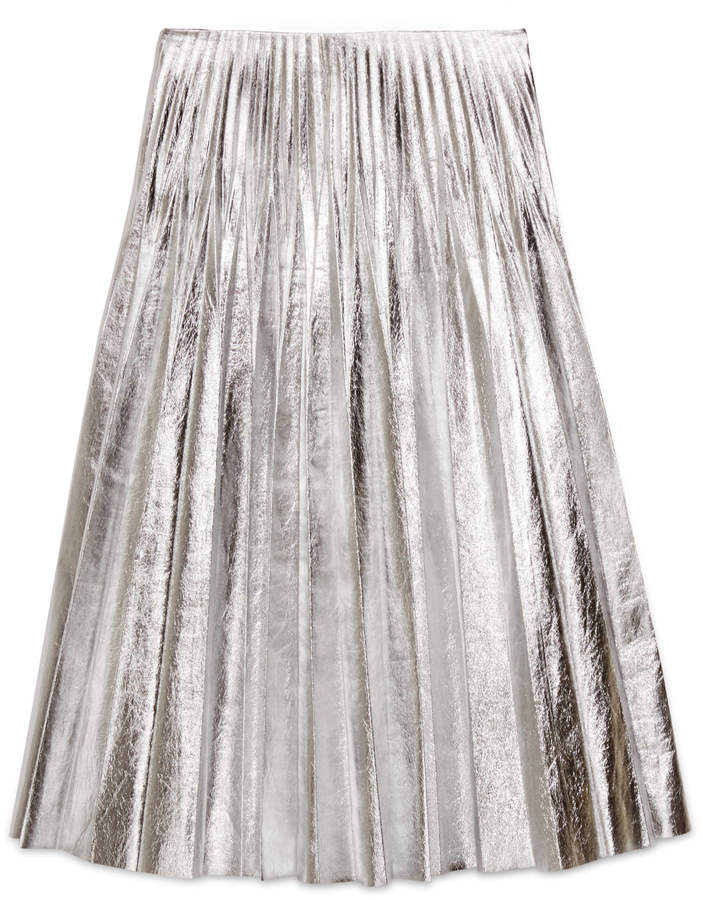 Gucci Metallic leather plissé skirt