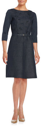 Max Mara Weekend Max Mara Voghera Embroidered Belted Fit-and-Flare Dress