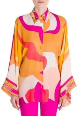 Emilio Pucci Graphic Print Silk Kimono Blouse