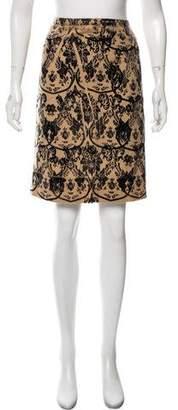 Miu Miu Floral Print Linen-Blend Skirt