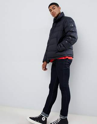 HUGO Biron down puffer jacket with taped sleeve and chest logo in black
