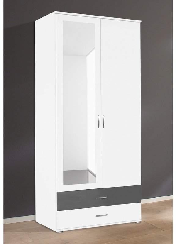 Armoire penderie 2 portes miroir 2 tiroirs aiment for Miroir best buy