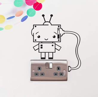 Oakdene Designs Plug Socket Robot Vinyl Wall Sticker
