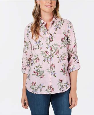 Charter Club Linen Floral-Print Utility Shirt