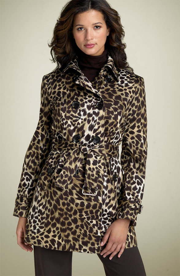 MICHAEL Michael Kors Leopard Print Belted Trench