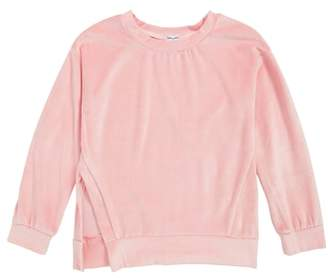 Splendid Velour Side Slit Sweatshirt