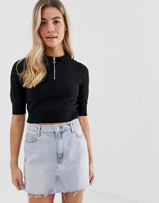Asos Design DESIGN knitted polo top with zip detail