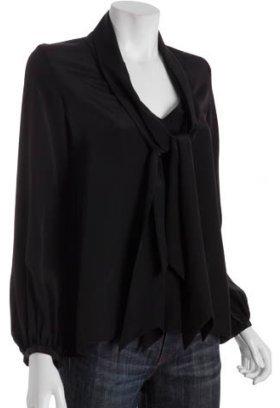 Geren Ford black silk tie neck blouse