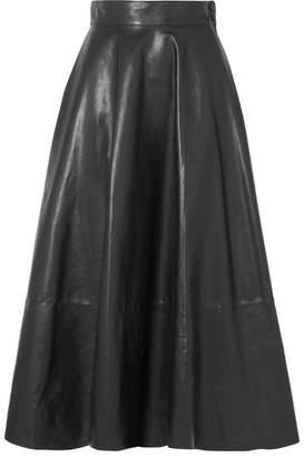 Loewe Pleated Leather Midi Skirt - Black
