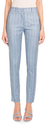 Pascal Millet Straight-Leg Striped Cotton-Linen Pants
