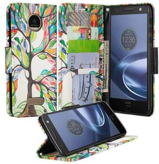 Motorola Coverlab Moto Z Droid Case, Wrist Strap Flip Folio [Kickstand] Pu Leather Wallet Cover with ID & Credit Card Slots & Money Pocket - Vibrant Tree