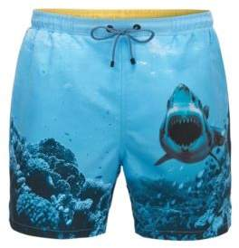 BOSS Hugo Shark Print Quick Dry Swim Trunk Swordfish M Open Blue