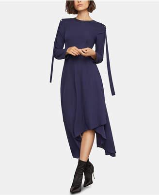 BCBGMAXAZRIA Faux-Leather-Trim Asymmetrical Dress