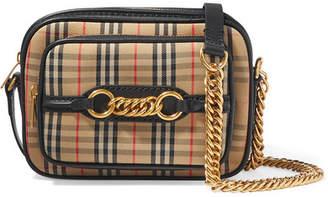 Burberry Embellished Leather-trimmed Cotton-blend Canvas Camera Bag