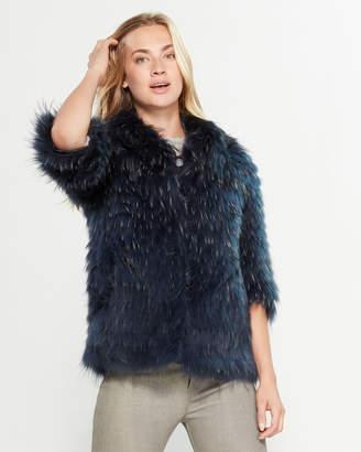 Intuition Paris Three-Quarter Sleeve Real Fur Coat