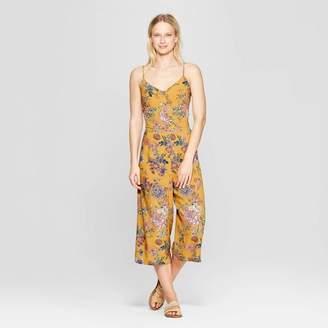 Xhilaration Women's Floral Print V-Neck Strappy Button Front Cropped Jumpsuit Golden