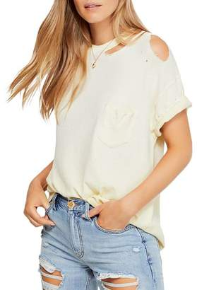 Free People Lucky Distressed Cutout Tee
