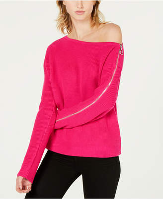 Bar III Ribbed Zipper-Sleeve On or Off Shoulder Sweater