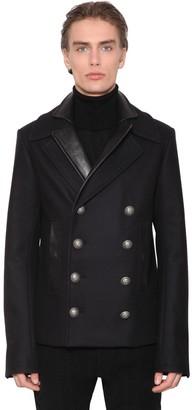 Balmain Double Collar Pea Coat W/leather Details