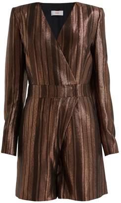 Wolf & Badger Milicent Brown Metallic Silk Playsuit