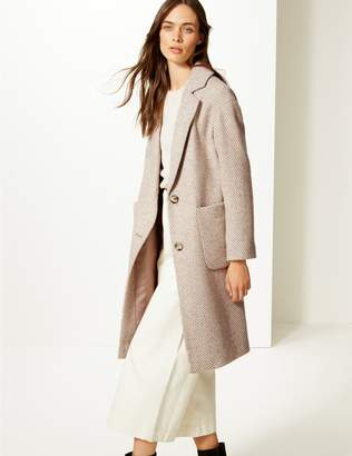 Marks and Spencer Wool Blend Herringbone Coat