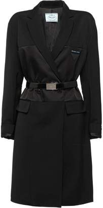 Prada wool, satin nylon gabardine coat