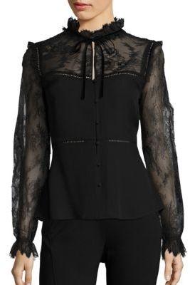 Elie Tahari Cecille Lace Silk Blouse $348 thestylecure.com
