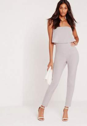 Missguided Petite Gray Bandeau Double Layer Romper