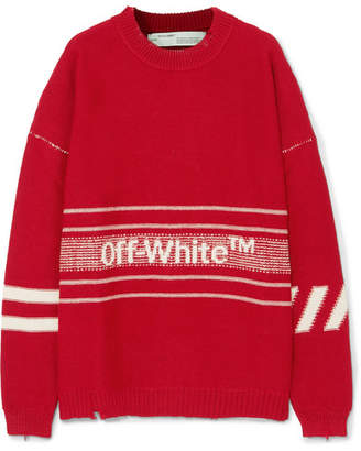 Off-White Oversized Distressed Embroidered Intarsia Wool Sweater