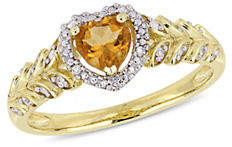HBC CONCERTO 10K Yellow Gold and Citrine Halo Heart Ring with 0.06 TCW Diamond