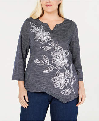 f06fb56e81e Alfred Dunner Plus Size Greenwich Hills Embellished Asymmetrical Top