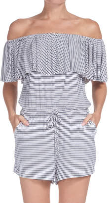 Elan International Stripe Off-The-Shoulder Romper