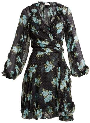Zimmermann Whitewash Ruffle Wrap Dress - Womens - Navy Print