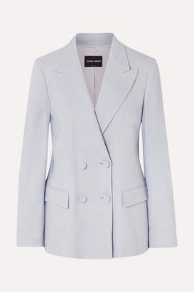 Giorgio Armani Double-breasted Twill Blazer - Blue