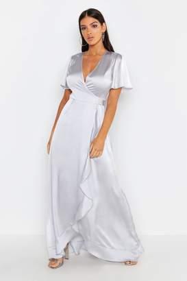 boohoo Satin Ruffle Wrap Maxi Dress