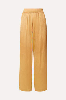 Sally LaPointe Crinkled-satin Wide-leg Pants - Saffron