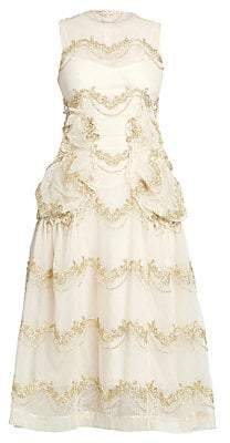 Simone Rocha Women's Sleeveless Smocked A-Line Dress