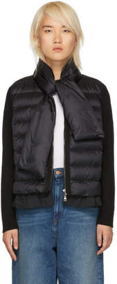 Moncler Black Knit and Down Scarf Jacket