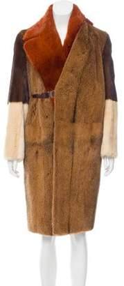 Celine Colorblock Mink Fur Coat