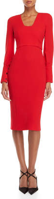 Antonio Berardi Red V-Neck Long Sleeve Pencil Dress