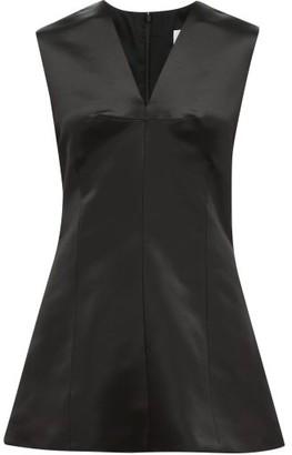 Marina Moscone - V Neck Wool Blend Satin Top - Womens - Black