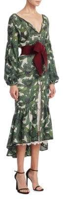 Oasis Print Eyelet Trumpet Dress