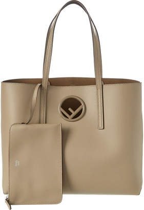 Fendi F Logo Leather Shopper Tote
